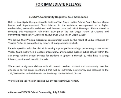 SCPA Community News Release 7-8-14