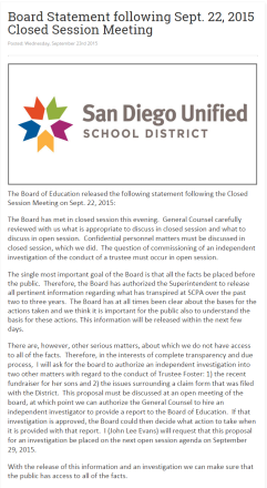 Closed Session Board Statement