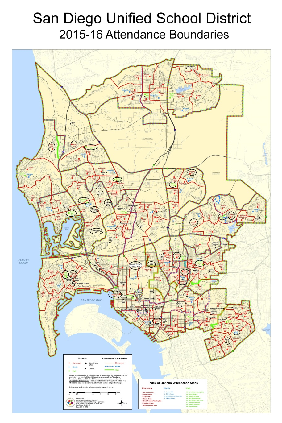 San Diego Unified Student Abuse Report Map-Schools On The Student Abuse Report Are Circled.