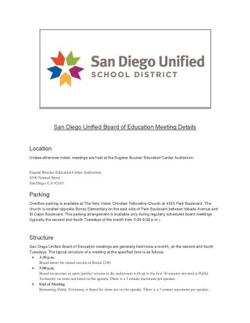 San Diego Unified Board of Education Meeting Details