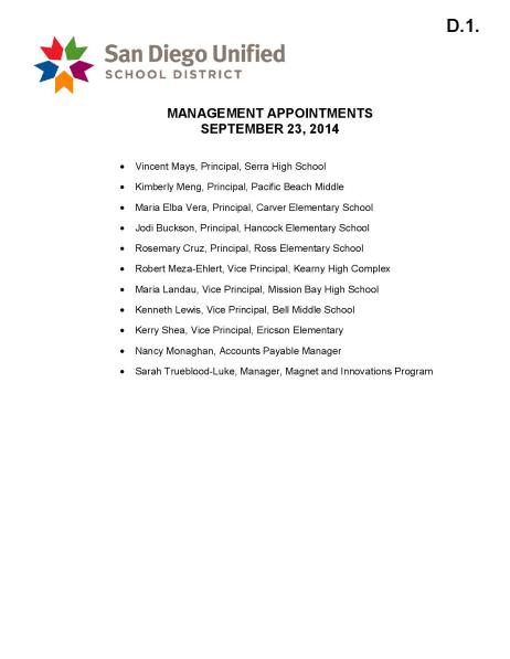 Management Appointments, 9-23-14