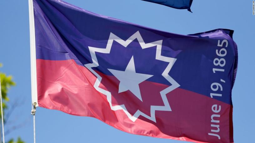 The Juneteenth flag, commemorating the day 185 years ago that slavery ended in the United StatesToday we celebrate Juneteenth, the  oldest national celebration of the abolishment of slavery in the United States.